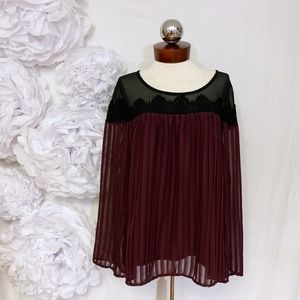 TORRID sheer lace pleated top romantic 0 L 12